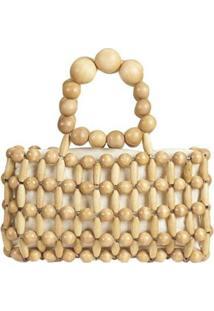 Bolsa Mini Bag De Madeira Em Bolinhas Entremeadas Feminina - Feminino