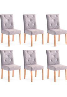 Conjunto Com 6 Cadeiras De Jantar Angel Cinza E Castanho
