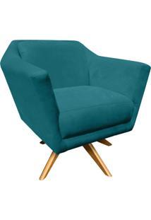 Poltrona Decorativa Lorena Suede Azul Pavão Com Base Giratória De Madeira - D'Rossi