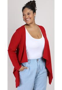 Capa Feminina Plus Size Canelada Assimétrica Vermelha