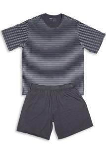 Conj. Pijama Modal Curto Cinza Chumbo Gg