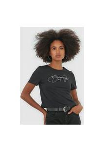 Camiseta Cropped Dimy Lettering Preta