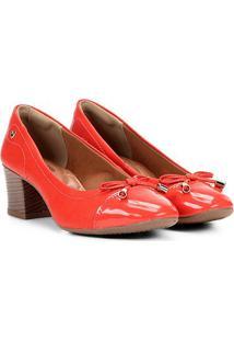 Scarpin Mississipi Salto Baixo Biqueira - Feminino-Vermelho