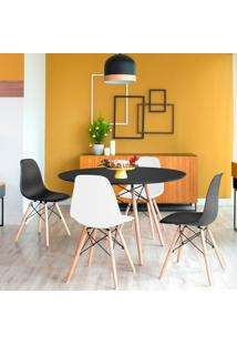 Conjunto De Mesa De Jantar Com 4 Cadeiras Eames Eiffel Preto E Branco