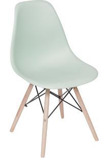 Cadeira Com Base Em Madeira Eames 1102-Or Design - Verde Claro