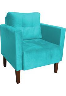 Poltrona Decorativa Lívia Para Sala E Recepção Suede Azul Turquesa - D'Rossi.