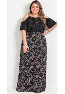 Vestido Longo Floral E Poá Plus Size