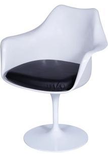 Cadeira Saarinen Tulipa Branca Com Braço Assento Preto