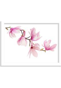 Quadro Decorativo Mognolia Rosa Branco - Grande