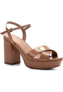 Sandália Shoestock Meia Pata Verniz Naked Feminina - Feminino-Noz