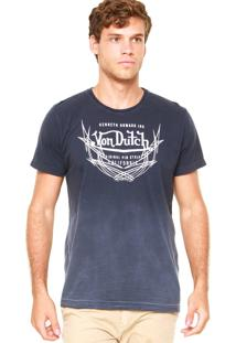 Camiseta Von Dutch Logo Degradê Azul