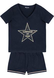 Pijama Feminino Em Malha De Algodão Com Estampa Frontal