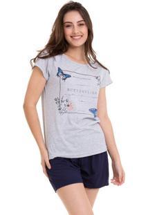 Pijama Short Doll Manga Curta Feminino Borboletas Luna Cuore