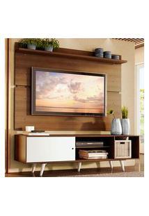 Rack Madesa Dubai E Painel Para Tv Até 65 Polegadas Com Pés - Rustic/Branco 6E6E Marrom