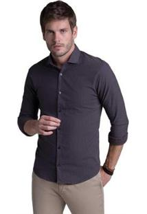Camisa Buckman Casual Fio Tinto Listras Masculina - Masculino-Chumbo