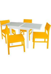 Conjunto De Mesa De Jantar Extensível Pólito Com 4 Cadeiras Carioca Branco E Amarelo