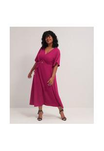 Vestido Malha Textura Midi Curve E Plus Size Rosa