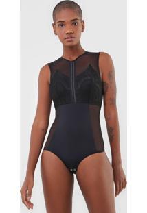 Body Calvin Klein Underwear Tule E Renda Preto - Preto - Feminino - Poliamida - Dafiti