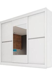 Guarda-Roupa Ipê Plus - 3 Portas - Com Espelho - 100% Mdf - Branco Acetinado