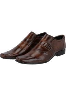 Sapato Social Couro Leoppé Costura Transversal Masculino - Masculino-Marrom
