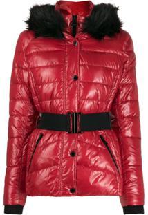 Barbour Fur Collar Puffer Jacket - Vermelho