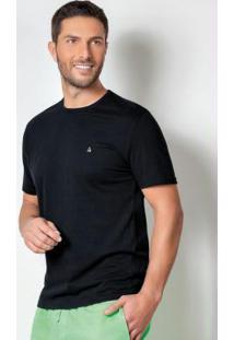 Camiseta Básica Com Detalhe Bordado Preta