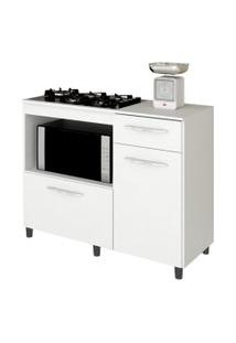 Balcáo De Cozinha Cooktop E Forno Microondas Mali Branco - Lumil Móveis