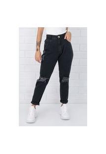 Calça Mom Pkd Destroyed Jeans Black Pkd