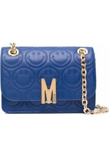 Moschino M-Logo Shoulder Bag - Azul