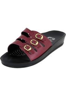 Chinelo Ortopédico Rossi Shoes 3 Fivelas Vinho