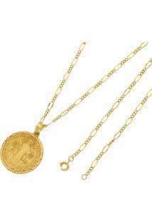 Pingente São Bento Com Corrente Folheada A Ouro 18K Tudo Jóias Modelo Trabalhada Dourada