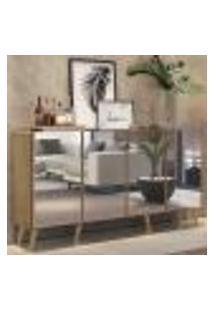 Aparador Buffet 4 Portas C/ Espelho E Pés Retrô Vegas Multimóveis Rustic/Natural