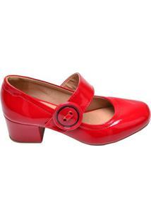 Sapato Feminino Salto Baixo Renata Della Vecchia Vermelho