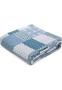 Kit De Colcha Com Porta Travesseiros Casal Andrezza Azul