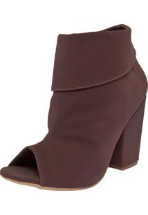 Ankle Boot Fiveblu Salto Grosso Marrom