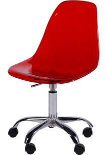 Cadeira Eames Dkr- Vermelha & Prateada- 93X47X41Cm