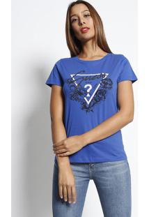 """Blusa """"Guess® U.S.A""""- Azul Royal & Preta- Guessguess"""