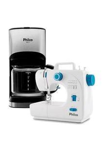 Kit Máquina De Costura Portátil Philco Pmc16Bp, 16 Pontos, Bivolt, Branca + Cafeteira Elétrica Philco Ph17, 15 Xícaras, 550W, 220V, Preto/Prata
