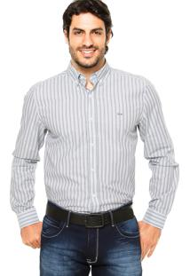 Camisa Lacoste Listras Cinza