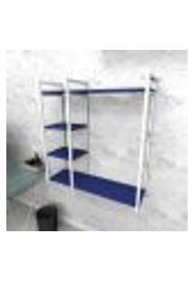 Estante Industrial Escritório Aço Cor Branco 90X30X98Cm (C)X(L)X(A) Cor Mdf Azul Modelo Ind44Azes