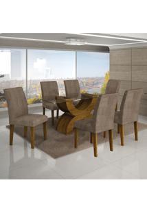 Conjunto Mesa Olimpia New 1,80X0,90M 6 Cadeiras Animale Capuccino - 7337.30.58.4 Leifer