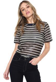 Camiseta Colcci Paete Listrado Preta/Azul-Marinho