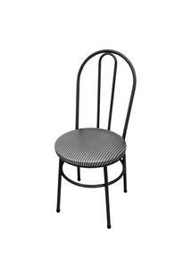 Cadeira Milla Craqueado/Tick Listras Açomix Preta