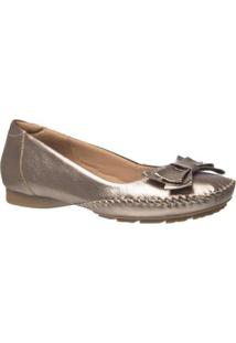 Sapatilha Doctor Shoes Couro Metalic Feminino - Feminino-Dourado