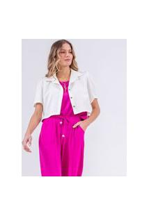 Blazer Camisa Cropped Off White-G Incolor