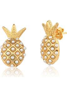 Brinco Le Diamond Abacaxi Com Mini Pérolas Dourado - Kanui