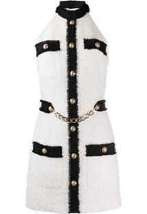 Balmain Vestido Frente Única De Tweed - Branco