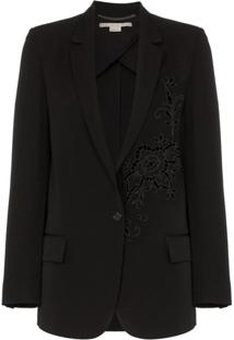 Stella Mccartney Tonal Flower Embellished Wool Blazer - Preto