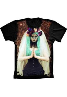 Camiseta Manga Curta Lu Geek Skull Caveira Preto