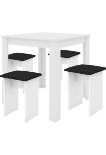 Conjunto De Mesa De Cozinha Com 4 Bancos | Banquetas Florença Branco